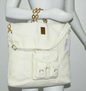 NEW Bvlgari ROSSANA LARGE Wrinkled Leather Dusty White Gold Shoulder Bag