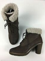 WOMENS BUSSOLA UK 8 EU 41 DARK BROWN LEATHER LACE UP HEELED FAUX FUR TRIM BOOTS