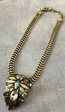 J Crew Art Deco Shield Style Crystal & Resin Cluster Brass Chain Necklace