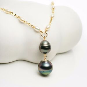 21'' Natural Tahitian Pearl Pendant White Pearl Necklace 14K Yellow Gold Filled