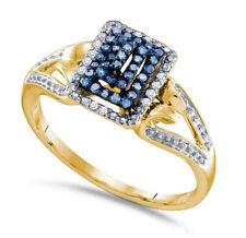 10k Oro Amarillo Azul y Blanco Anillo con Diamante Banda con Filas Pagoda Diseño