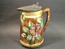 Beautiful Large Antique Majolica Rustic Bark and Floral Syrup Pitcher