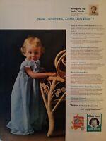 1961 Gerber baby food cookies little girl blue nightgown  blond curls vintage ad