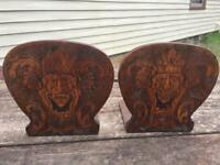 Antique Pyrography Flemish Art Burnt Wood Carved Bookends Man Native ?