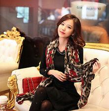 Long Soft Large Silk Scarf Wrap Shawl Women Birthday Present Leopard Print