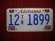2010 NOV Alabama License Plate 12-1899 Auto Car Man Cave Craft Rat Rod Garage
