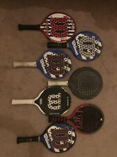 7 Assorted Used Wilson Playform Rackets And Bag