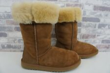 * UGG AUSTRALIA * WOMANS FELL LEDER BOOTS STIEFEL CAMEL * W6 / 37 *