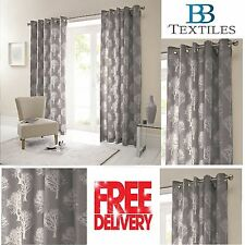 Woodland Forest Trees Fully Lined Eyelet Ready Made Curtains Charcoal