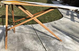 "Antique Vintage Wood Legs Primitive Ironing Board Table Folding 54"""