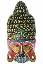 Buddha Face Wooden Mask Hand Carved Art Sculpture Wall Hanging Home Decor Wood
