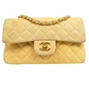 CHANEL Classic Double Flap Small Chain Shoulder Bag 2640481 Beige Suede 71473