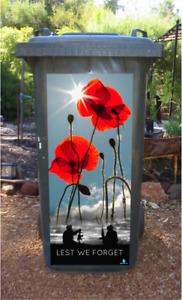 Anzac Soldiers with poppies wheelie bin sticker