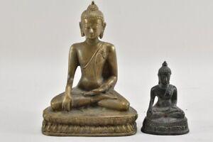 a67l05- 2x Buddha Figur, Messing & Metallguss