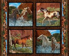 Wild Wings Rivers Edge Horses Pillow Panel 100% cotton fabric panel