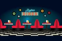 Retro Diner Restaurant Scene Art Print Poster 24x36 inch