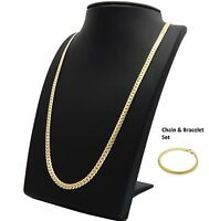 Mens Miami Cuban link Chain & Bracelet Set 14k Gold Plated 5mm Necklace