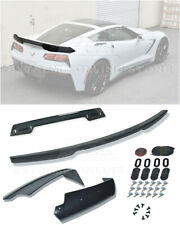 For 14-19 Corvette C7 Z06 Stage 3 Rear Trunk Lid Spoiler SMOKE Tinted Wickerbill