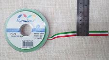 2 METRI NASTRO TRICOLORE 12mm - qualità superiore Manubens - 100% poliestere