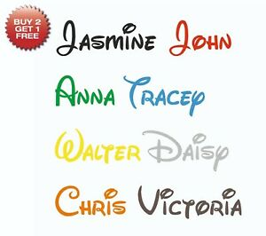 Personalised Sticker Name Word Label Water Drink Bottle Disney Font Decal Vinyl