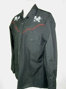 ELY Diamond  Western Shirt Mens Size M Black Country Music Pearl Snaps GUC!