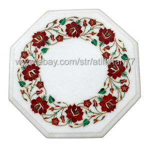 Marble Inlay Side Table Handmade Pietra Dura Art Living Room Sofa Side Table