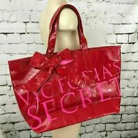 Victoria's Secret Womens Beach Bag Red Vinyl Striped Lining Lg Handbag Tote Flaw