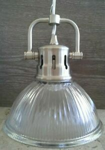 Industrial Loft Ribbed Glass Dome Shade Light Brushed Nickel Pendant Light