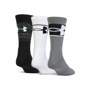 Under Armour Youth Crew Socks 3 Pack Medium YM UA TRAINING Black Grey White New