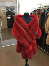 MONROE DYED RED FOX & CRYSTALS GORGEOUS 3 ROW STOLE CAPE WRAP FLING TAILS NEW