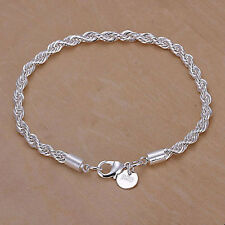 Fashion Women 925 Silver Plated Twisted Rope Bangle Bracelet Chain for Gifts