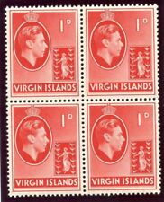 British Virgin Island 1938 KGVI 1d scarlet (CH) block superb MNH. SG 111.
