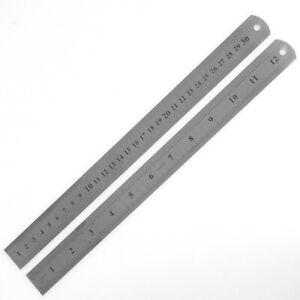 30 cm 12 Zoll Werkstattlineal aus Stahl, Stahllineal mit Maßeinteilung Neu 300mm