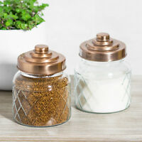 2 x Glass Storage Jars Copper Lids Tea Coffee Sugar Canisters Kitchen Containers