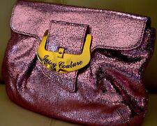 JUICY COUTURE Glitz'n'Glam Pink Foil Crackle Leather Clutch Evening Handbag