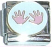 BABY GIRL HANDPRINTS Enamel Italian 9mm Charm FA052 Fits Nomination Classic