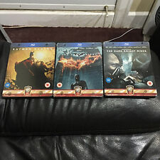 Batman Begins Dark Knight + Rises Blu-ray Steelbook | UK exclusive | NEW Nolan