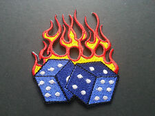 HEAVY METAL PUNK ROCK MUSIC SEW / IRON ON PATCH:- FLAMING POKER DICE (b) BLUE