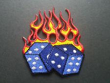 HEAVY METAL PUNK ROCK MUSIC SEW / IRON ON PATCH:- FLAMING POKER DICE (b) BLUE