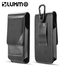 Black Leather Belt Clip Loop Mens Pouch Holster Phone Holder Vertical With Clip