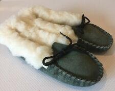 New Ladies Green Mocassin Slippers Size 3