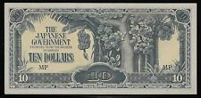 Malaya Japanese Invasion Money 10 Dollars 1940's WWII MP Block