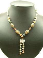 Fancy Agate & Rutilated Quartz  Necklace, .925, Sterling and Silver