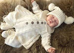 KNITTING PATTERN TO MAKE *MONDAY'S CHILD* 4 PIECE SET FOR BABY OR REBORN DOLL