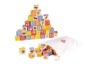 NEW Tooky Toy Educational Wooden Blocks - Alphabet & Numbers 50pc