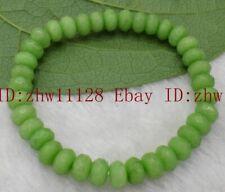 Gemstone Bead Bracelet Bangle 7.5'' Fashion 5x8mm Faceted Natural Peridot Abacus