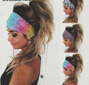Women Wide Elastic Turban Headwrap Stretch Headband Sports Yoga Gym Hair Band UK
