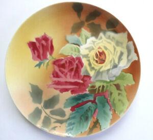 ROSES Plat Art Nouveau Boulenger Terre de Fer Choisy le Roi France Assiette 28cm
