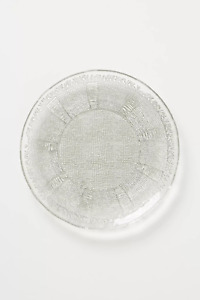 """NEW ANTHROPOLOGIE SARAH SODA LIME GLASS DESSERT SIDE PLATE LACY SILVER LACE 8"""""""