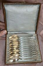 BOULENGER Coffret 12 petites cuillères métal argenté Art Nouveau Fleur de Cacao